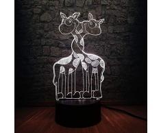 3D Illusion Night Light bluetooth Smart Control 7 e 16M App mobile a colori Visione a led Animale africano Doppia giraffa USB Umore Camera da letto per bambini Decor Carino colorato Regalo creativo