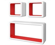 lyrlody- Set 3 Mensole da Muro a Cubo, Libreria da Parete Design Quadrato Mensola Scaffale Cubo, Bianco Opaco + Rosso, Rettangolare + Cubo, in Legno MDF