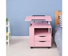 WLJBD JIA He SENG Furniture/Regolabile in Altezza servitore Tavolino Comodino in Legno con Supporto Rotante, cassetti di immagazzinaggio, Ruote e Open Shelf (Colore: Rosa) (Color : Pink)