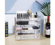 LOSYU 4-Tiers Cosmetic Storage Box Bagno Dresser Metallo Trucco dellorganizzatore dellesposizione dei monili di Alta capacità Rossetto Staccabile di scaffalature Metalliche Acrilico