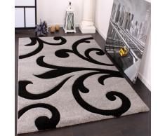 Paco Home Tappeto di Design Orlo Lavorato Moderno Ondulato nei Colori Grigio Nero, Dimensione:80x150 cm