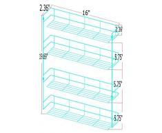 Scaffale porta spezie/portaspezie a 4 piani, 50x41x6 cm - Ripiano per le spezie in design quadrato / 4 ripiani / mensola per le erbe (facile da installare) - adatta sia per il montaggio su una parete che in un armadio.