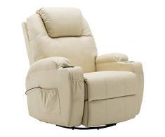 MCombo Moderno Massaggio Poltrona Reclinabile Divano Vibrante Riscaldato in Pelle PU Salotto Ergonomico 360 Gradi Girevole 7020 Bianco Crema