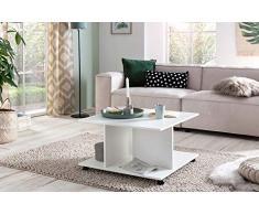 Tavolino di Design 74 x 74 x 43,5 cm Bianco Ruotabile con Ruote. Tavolino da caffè Tavolino Piccolo. Tavolo da Salotto in Legno da Salotto. Tavolino con Spazio di archiviazione