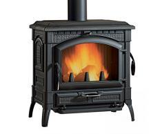 Nordica Stufa a Legna Isotta Evo in Ghisa Smaltata con Porta Panoramica, Vetro Ceramico Resistente a 750°, Porta di Carico Laterale, Scarico Fumi Ø 150 Superiore/Posteriore, 77,5 x 66 x 79 cm