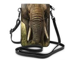 Lelefante africano borsa a tracolla donna in pelle leggera antifurto regolabile cinghia mobile portafoglio, mini borsa a tracolla