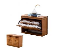 AVEO Scarpiera Scarpiera Panca Legno 2 Ripiani Scarpiera Scaffale a Scomparsa Armadio scarpiera Organizzatore per Ingresso/corridoio Portascarpe (Color : Wood, Dimensione : 60cm)
