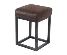 Damiware - Sgabello basso Brucy, altezza seduta 50 cm, sgabello da pranzo, toeletta decorativo, multifunzionale, industriale, vintage (Burgundy)