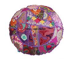 Rotonda cotone pavimento cuscino vintage ricamato patchwork copertura del cuscino, gypsy pouf pouf indiano da 40,6 cm, 40,6 cm Boemia vintage ricamato pouf ottomano pouf copertura indiano rotondo indiano