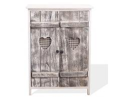 Rebecca Mobili Credenza Shabby Chic, dispensa di Legno, 2 Ante, Bianco Grigio, Cucina Bagno - 70 x 51 x 30 cm (HxLxP) - Art. RE4563