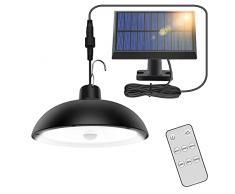 Lampade Solari da Esterno, 78LED 4 Modalità Lampada a Sospensione Solare con Sensore di Movimento, Telecomando, 360 ° Pannello Solare Regolabile, IP65 Impermeabile Luce Solare per Giardino,Garage