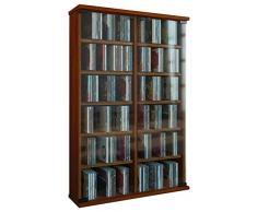 VCM 912014 zuntisa - Scaffale da Parete per 300 CD, in Legno/Vetro di Sicurezza ESG, Legno, Cœur de Noyer, 91,5 x 60 x 18 cm