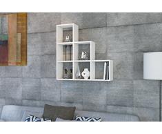 YAMAN Mensola da muro - Bianco - Mensola Parete - Mensola Libreria - Scaffale pensile per studio / soggiorno in un design moderno