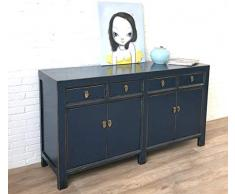 OPIUM OUTLET - Comò cinese, credenza, stile coloniale vintage, blu shabby chic (blu scuro)