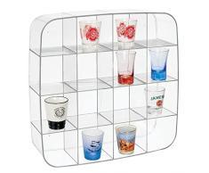 mDesign Moderno espositore da parete in plastica senza BPA – Scaffale quadrato con 16 scomparti per smalti, profumi, oggettistica – Perfetto come portaspezie in cucina – trasparente