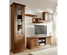 Vetrina in legno di pino, stile coloniale colori laccato, armadietto, armadio