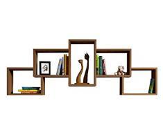 HOMIDEA Bold Mensola da Muro - Mensola Parete - Mensola Libreria - Scaffale pensile per Studio/Soggiorno in Design Moderno (Noce)