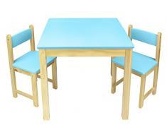 Leomark Tavolo in legno e due sedie set, tavolino sgabelli, tavolo per camera di bambini, mobili in legno, mobili per bambini scuola e materna asilo, colore: BLU, dimensioni: 60 x 60 x 54,5 cm (LxPxA)