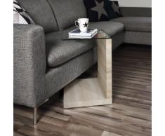 """AC Design Furniture 49358 Tavolino a incasso laterale """"Michel"""", in laminato quercia """"Sonoma"""", piano in vetro trasparente, ca. 40 x 50 x 35 cm"""