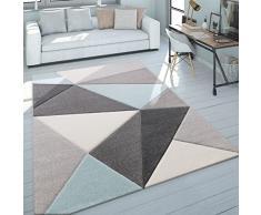 Paco Home Tappeto 3D Triangoli Pastello Trend Grigio Turchese, Dimensione:160x230 cm