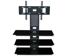 MOBILE SUPPORTO TV LCD/LED/PLASMA CON STAFFA E TRE RIPIANI IN VETRO COLORE NERO
