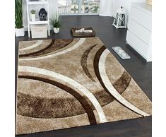 Paco Home Tappeto di Design con Bordo Definito A Righe Marrone Beige Crema Screziato, Dimensione:160x230 cm