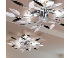 Plafoniera con foglie decorative per salotto e sala da pranzo, lampadario, colore: bianco/nero