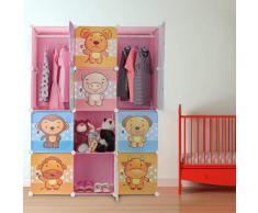 Relaxdays Scaffale Componibile per la Cameretta dei Bambini, Immagini Graziose di Animali, Ante e Bastone Appendiabiti, Rosa