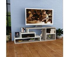 CEREN Set Soggiorno - Bianco & Avola - Mobile TV Porta con mensola in un design moderno