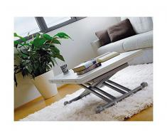Arosio Bernardel - Tavolino alzabile con struttura alluminio e piano laccato bianco neve a poro aperto Tavolo diventa cm 140 x 110. (ordinabile anche a multipli). VERO LEGNO, cm 110 x 70, Ciliegio