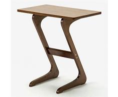 NNDQ Tavolino da Salotto in bambù a Forma di Z Tavolino TV, Design lineare, Angolo Arrotondato, lucidatura fine per Mangiare, Lavorare, Scrivere, casa, Ufficio