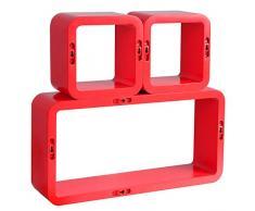 WOLTU 9212 Mensole da Muro Mensola a Cubo Scaffale Parete Legno MDF Moderno 3 Pezzi Diametro Diverso Rosso