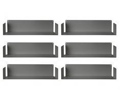 MENSOLA DESIGN per LIBRI - SET di 6 - ACCIAIO - BIANCO - 60 cm, D 15 cm, H 15 cm