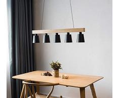 ZMH Lampada a sospensione vintage in legno e metallo adatto per lampadine LED E27, selezionabile Lampadario a Sospensione per soggiorno, sala da pranzo, ristorante, taverna(nero)