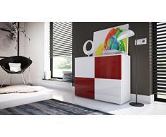 Comò moderno Skate, mobile soggiorno di design bianco,credenza per entrata, sala, camera