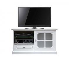 Mobile porta tv bianco stile classico, Porta tv vetrinta per soggiorno o salotto, Arredo classico angolo tv, 1 anta vetro 1 cassetto 1 vano con ripiano, Fatto in Italia, dimensioni: L106xP40xH60cm