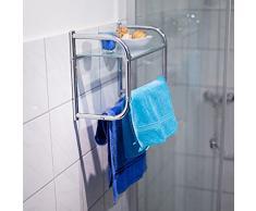 Relaxdays Porta Asciugamani e Porta Oggetti Bagno con Mensola Vetro, 34 X 45 X 23 cm, Acciaio Inossidabile, Argento