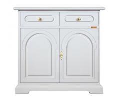 Credenza classica laccata bianca per cucina/soggiorno/ingresso, Mobile classico bianco, 1 porte 1 cassetto doppia facciata, Artigianato Fatto in Italia, Dimensioni: L84xP34xH82cm