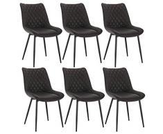 WOLTU Set di 6 Sedie da Pranzo in Ecopelle Sgabello da Cucina Senza Braccioli Colore Antracite BH210an-6