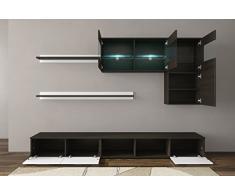 Home innovazione - Mobile soggiorno - Parete da soggiorno con LED, finiture bianco laccato e wengé, dimensioni: 250 x 190 x 42 cm di profondità