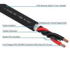 Ricable H6S Speaker - al METRO - Cavo audio di potenza per Diffusori Acustici 2 x 6 mm. con guaina tubolare da 14 mm. Schermatura in treccia di rame stagnato e isolante in PE. Qualità Hi-Fi per il collegamento di casse acustiche