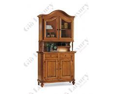 Credenza con vetrina, stile classico, in legno massello e mdf con rifinitura in noce lucido - Mis. 112 x 45 x 220
