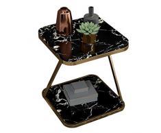 XWZJY Tavolino Quadrato, Tavoli/tavolini nordici in Marmo, Scrivania per Laptop per Il Tempo Libero per Soggiorno Balcone, Scaffale Aperto di archiviazione a 2 Livelli, Nero + Oro