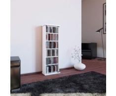 VCM 21027 - Torre Porta CD/Dvd, in Legno e Vetro, per 150 CD, 88 x 31 x 18 cm, Colore: Bianco