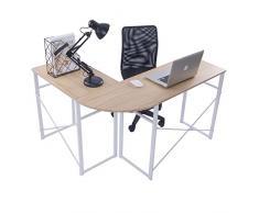 WOLTU® TSG24hei Scrivania Angolare Tavolo da Studio PC Computer Ufficio Lavoro Scaffale Moderno in Acciaio Legno 83x40x72,5cm+63x40x72,5cm