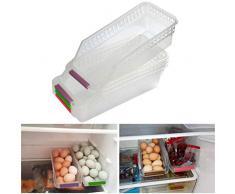 OFNMY 4 pezzi portaoggetti per alimenti con maniglia ideale per frigorifero, cucina, dispensa, frigorifero (30 * 13 * 8.5 cm)