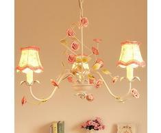 Paese rustico salotto lampadari paralume in tessuto floreale foglia in metallo con rosa in ceramica camera da letto lampada a sospensione Bar Contatore Sala da pranzo lampadario illuminazione Fixtures moderno White and Pink