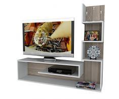 METEHAN Set Soggiorno - Bianco & Avola - Mobile TV Porta con mensola in un design moderno