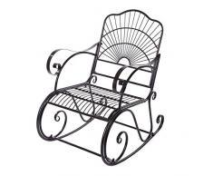 Sedia a Dondolo in Ferro con Braccioli Curvi , Reclinabile, 1 Posto, Stile Antico, per Adulti, Patio, Cortile, Parco, Uso Interno - 104*89*61cm