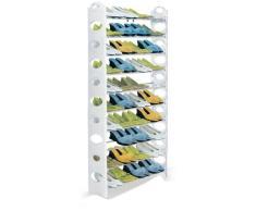 Vinsani Scarpiera Mobiletto Portascarpe Scaffale 10 ripiani Supporto per 50 paia di scarpe – Nero/Bianco White